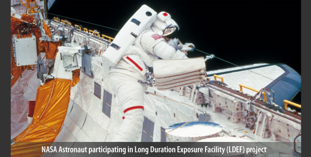 NASA Astronaut participating in Long Duration Exposure Facility (LDEF) project