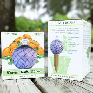 12 oz. Purple Spiral Fluted Watering Globe & Stake Set