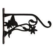 Restorers Iron Butterfly & Flower Plant Hanger-Pair-Black Powder Coat image