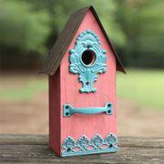 Metal/Wood Birdhouse Pink