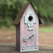 Metal/Wood Birdhouse - Purple