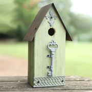 Metal/Wood Birdhouse - Green image