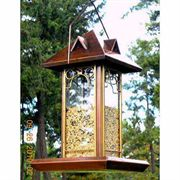 Antique Copper Hip Roof Bird Feeder