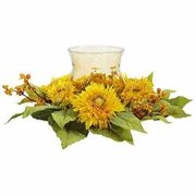 Golden Sunflower Candleabrum Silk Flower Arrangement