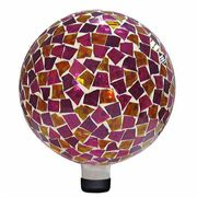 10-inch Mosaic Gazing Ball - Pink/Yellow