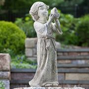 Child Holding Bird Garden Statue