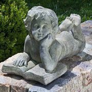 Cherub Reading Book Garden Statue
