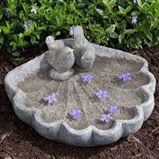 Sparrows on Shell Birdbath