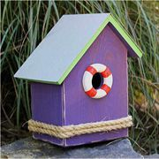 S.S. Birdsong Bird House (Purple with a Green Roof)