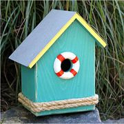 S.S. Birdsong Bird House (Turquoise with a Yellow Roof)