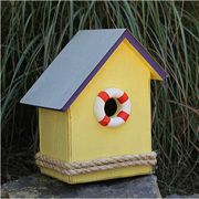 S.S. Birdsong Bird House (Yellow with a Purple Roof)