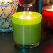 White Pine Double-wick Candle in Green Glass