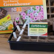 Jiffy Strip Greenhouse with Thrive and Lables