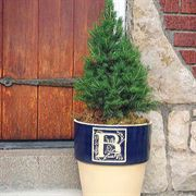 Hand-Crafted Bookplate Monogram Planter-Cobalt Blue