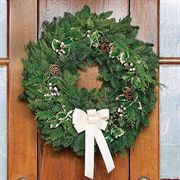 Winter White Fresh Holly Wreath