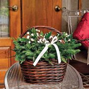 Winter White Evergreen Basket