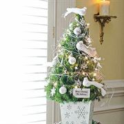 Silent White Tabletop Christmas Tree - 1-Gallon